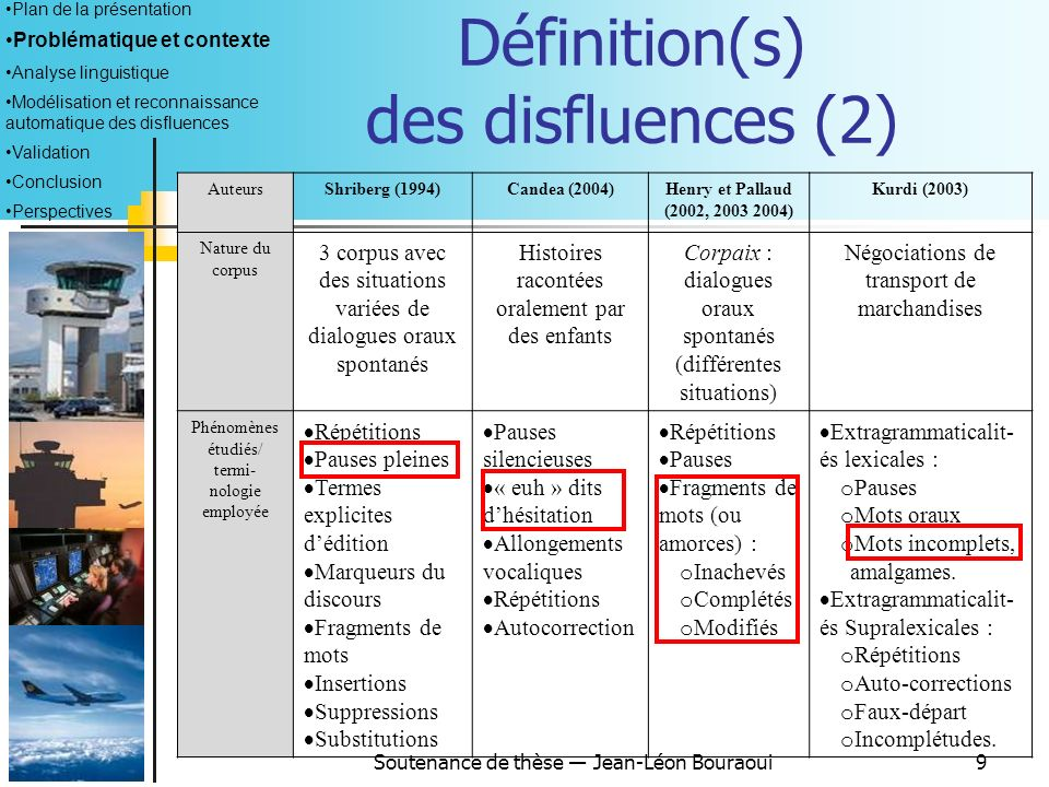 Définition(s) des disfluences (2)