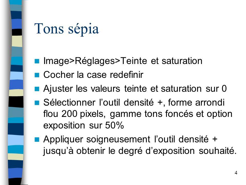 Tons sépia Image>Réglages>Teinte et saturation