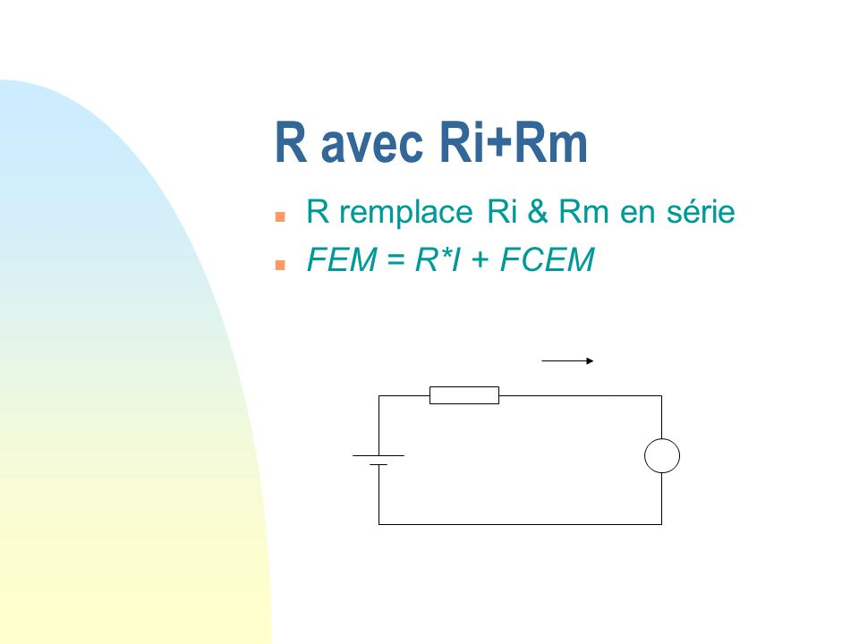 R avec Ri+Rm R remplace Ri & Rm en série FEM = R*I + FCEM