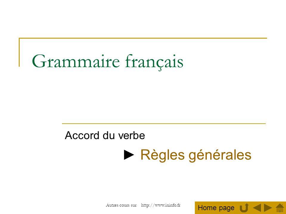 Accord du verbe ► Règles générales