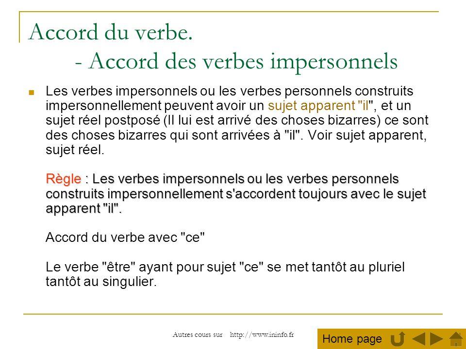 Accord du verbe. - Accord des verbes impersonnels
