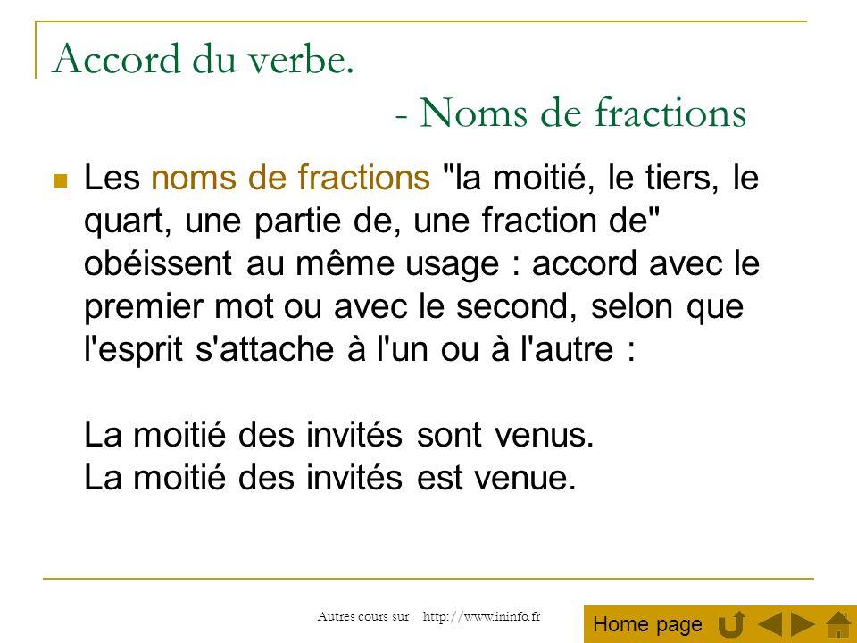 Accord du verbe. - Noms de fractions