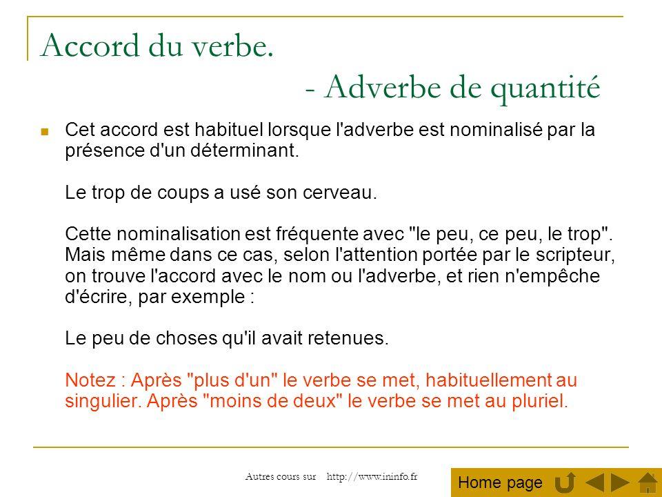 Accord du verbe. - Adverbe de quantité