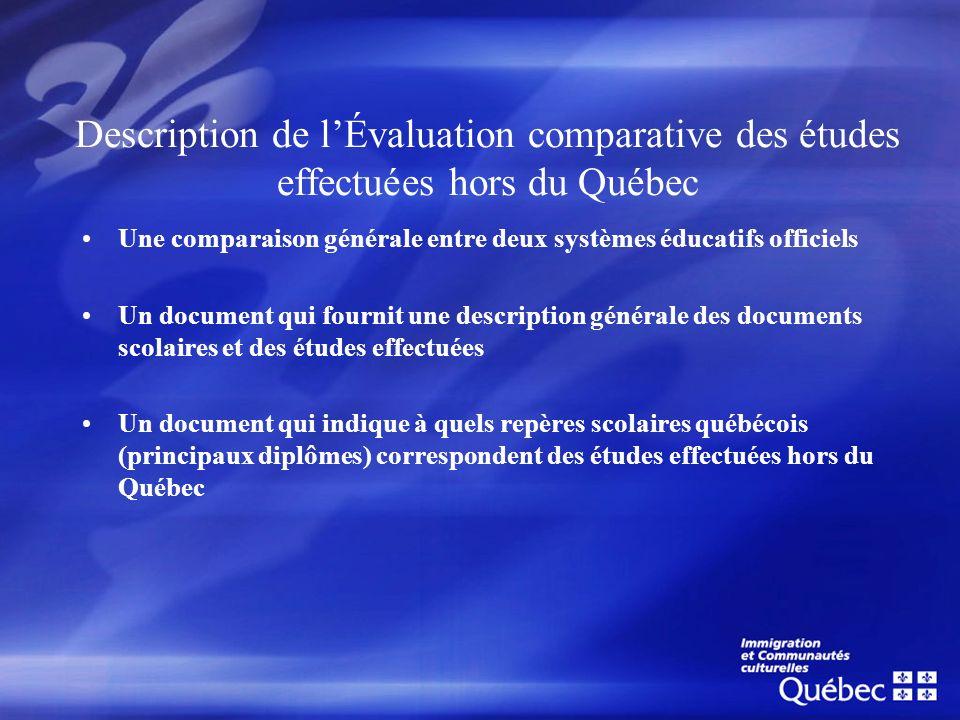 Description de l'Évaluation comparative des études effectuées hors du Québec