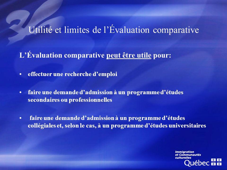 Utilité et limites de l'Évaluation comparative