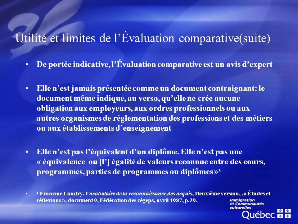 Utilité et limites de l'Évaluation comparative(suite)