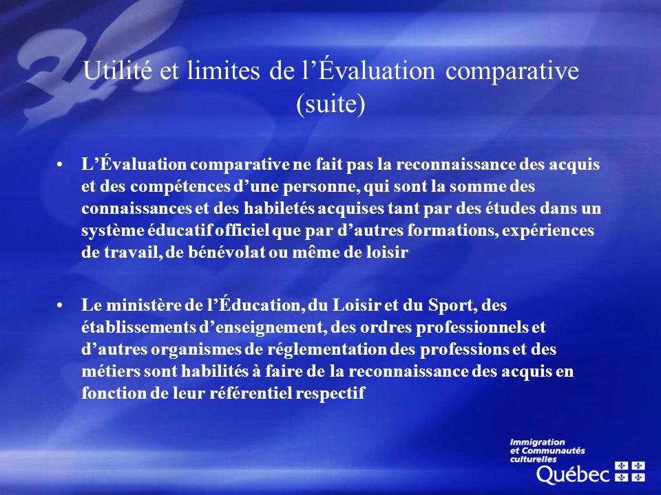 Utilité et limites de l'Évaluation comparative (suite)