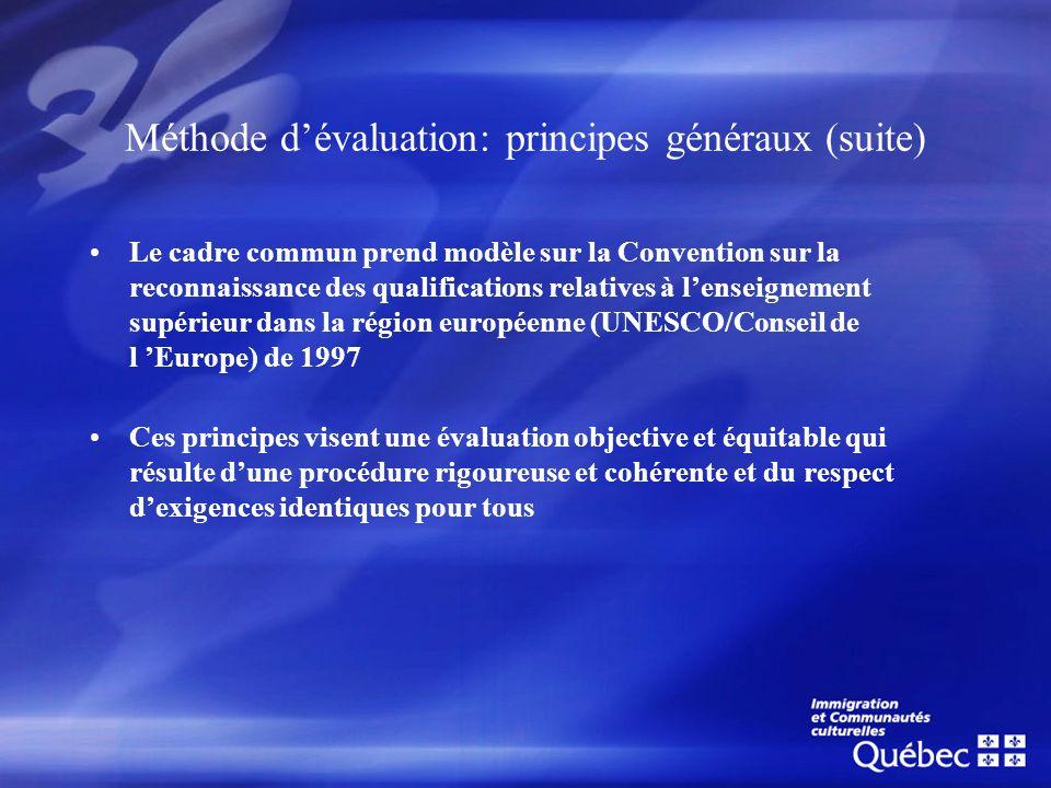 Méthode d'évaluation: principes généraux (suite)