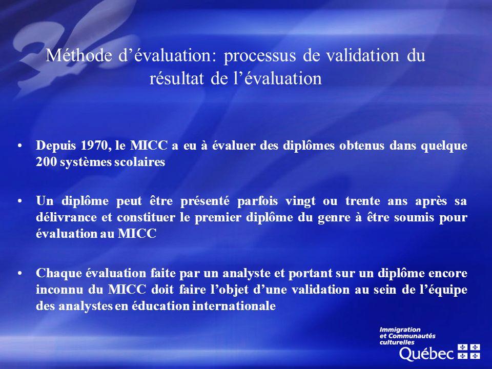 Méthode d'évaluation: processus de validation du résultat de l'évaluation