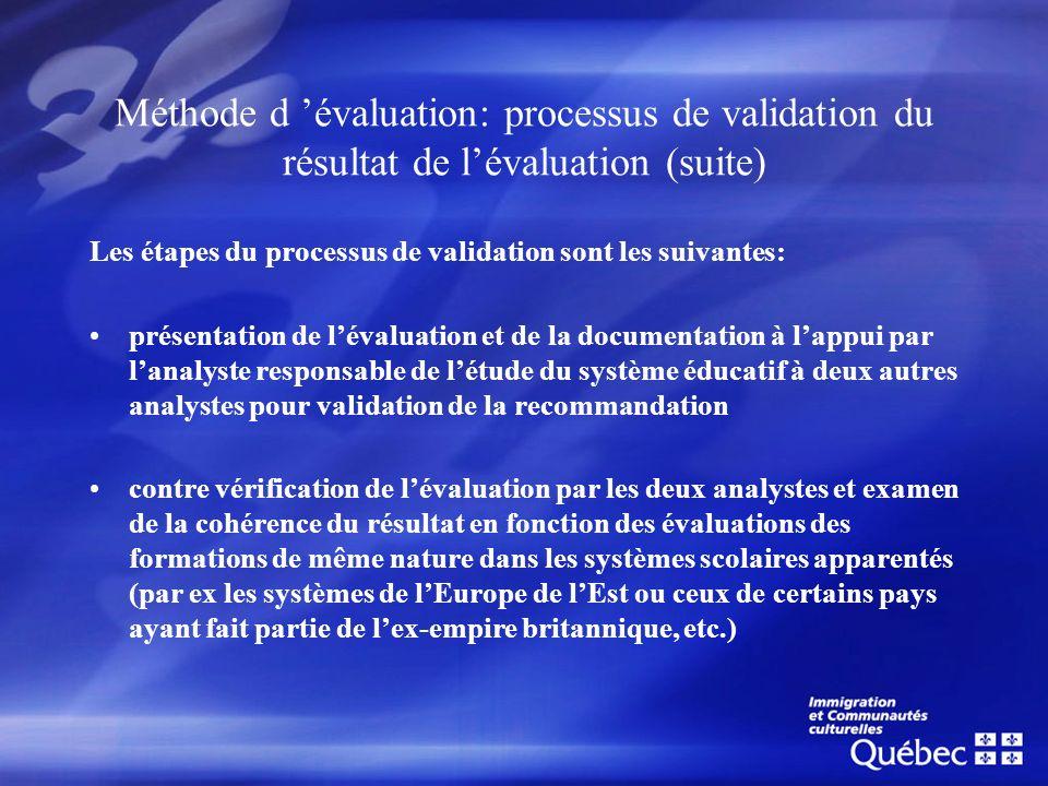 Méthode d 'évaluation: processus de validation du résultat de l'évaluation (suite)