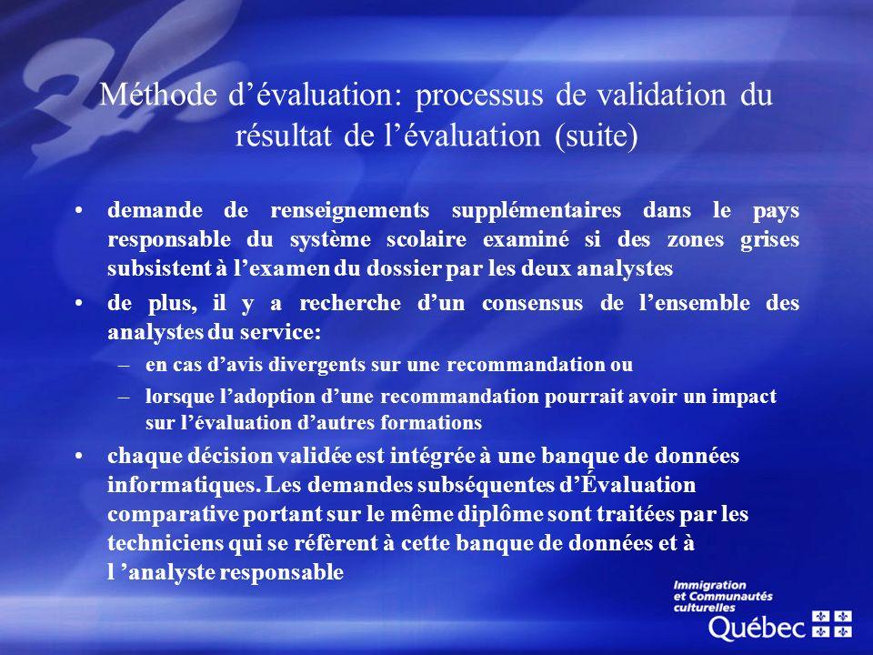 Méthode d'évaluation: processus de validation du résultat de l'évaluation (suite)