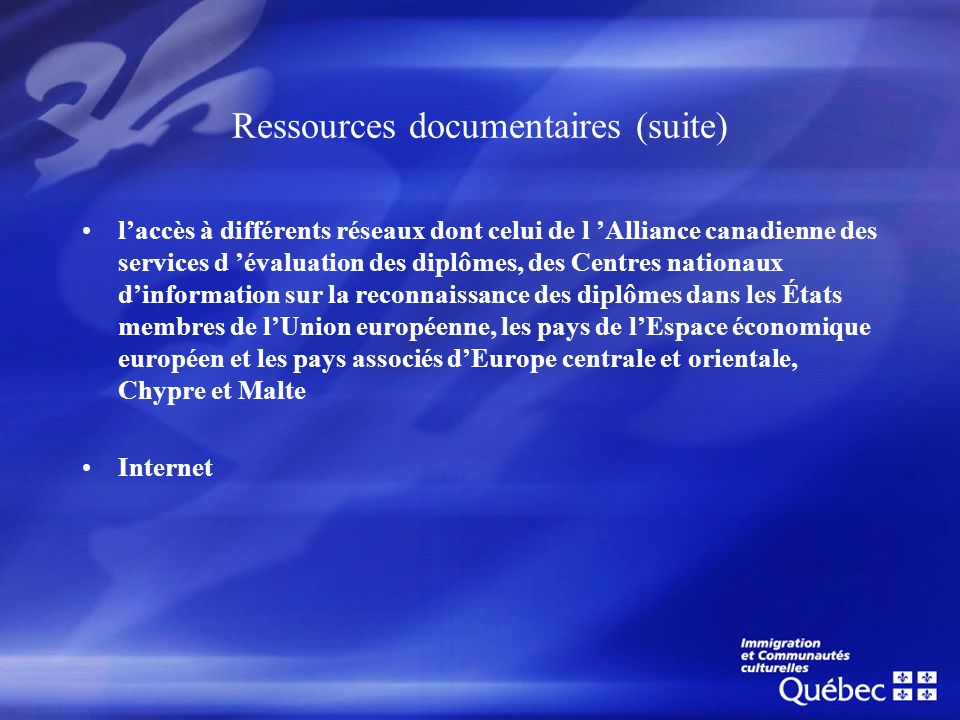 Ressources documentaires (suite)