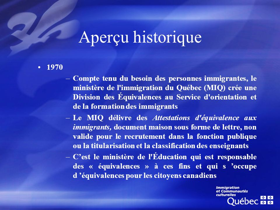 Aperçu historique1970.