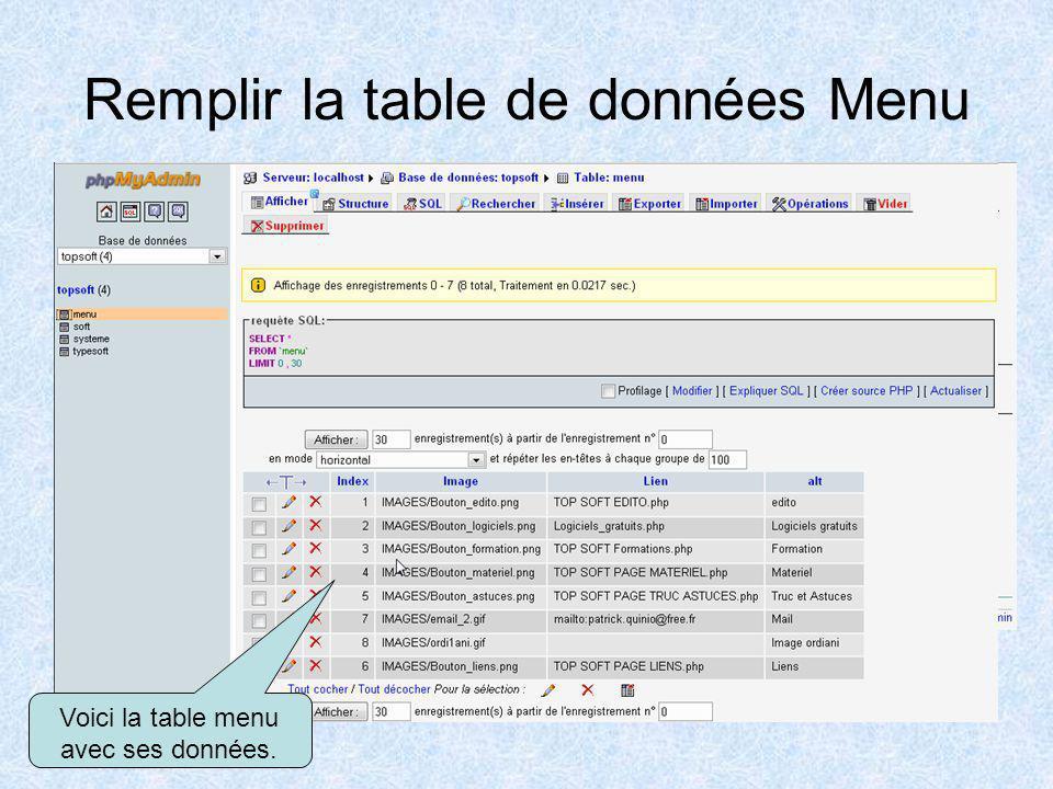 Remplir la table de données Menu