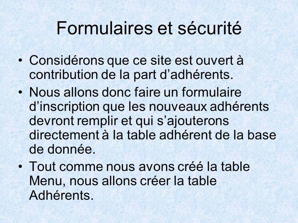 Formulaires et sécurité