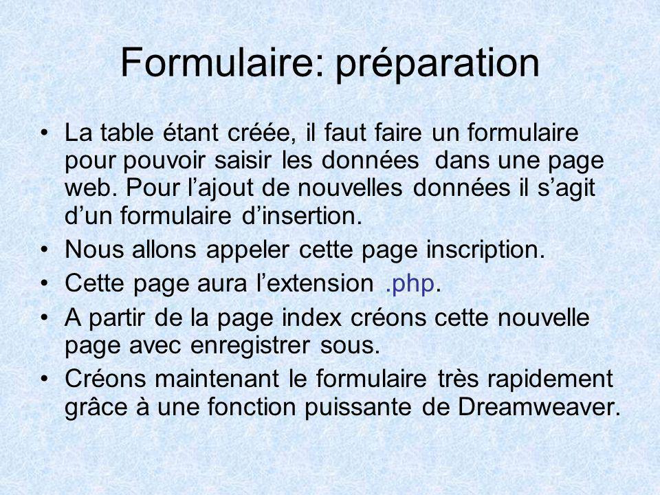 Formulaire: préparation