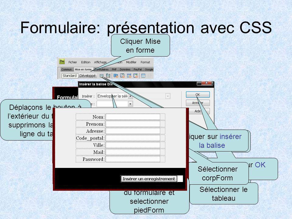 Formulaire: présentation avec CSS