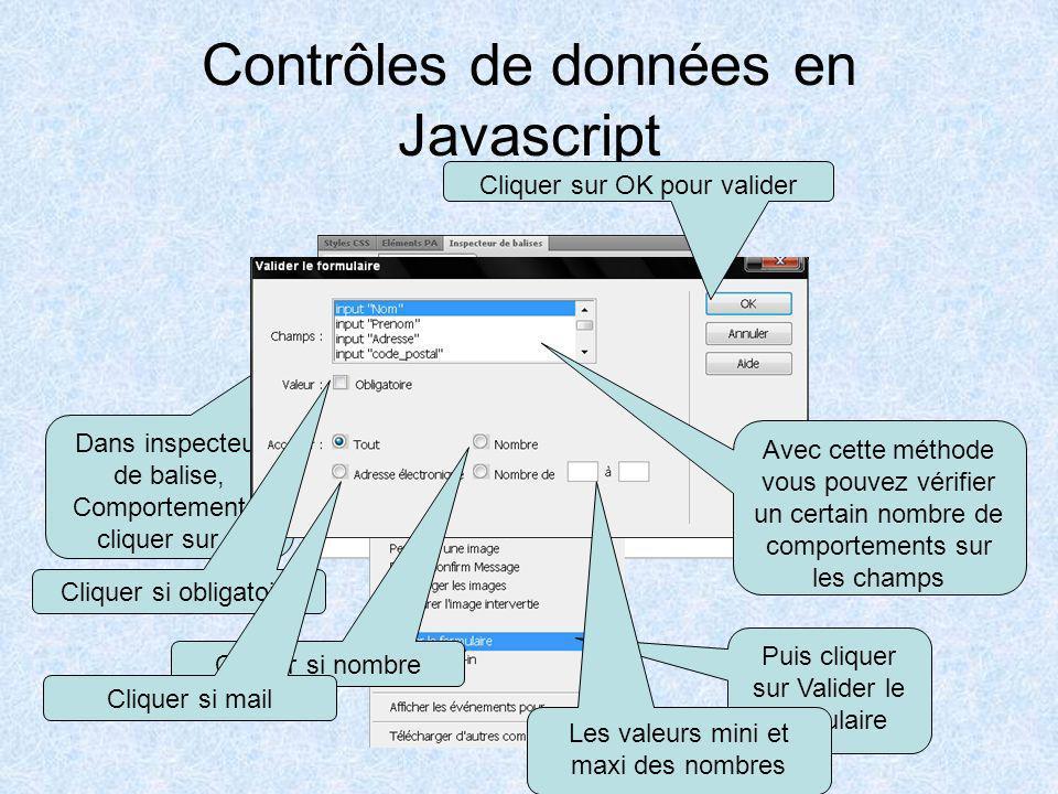 Contrôles de données en Javascript