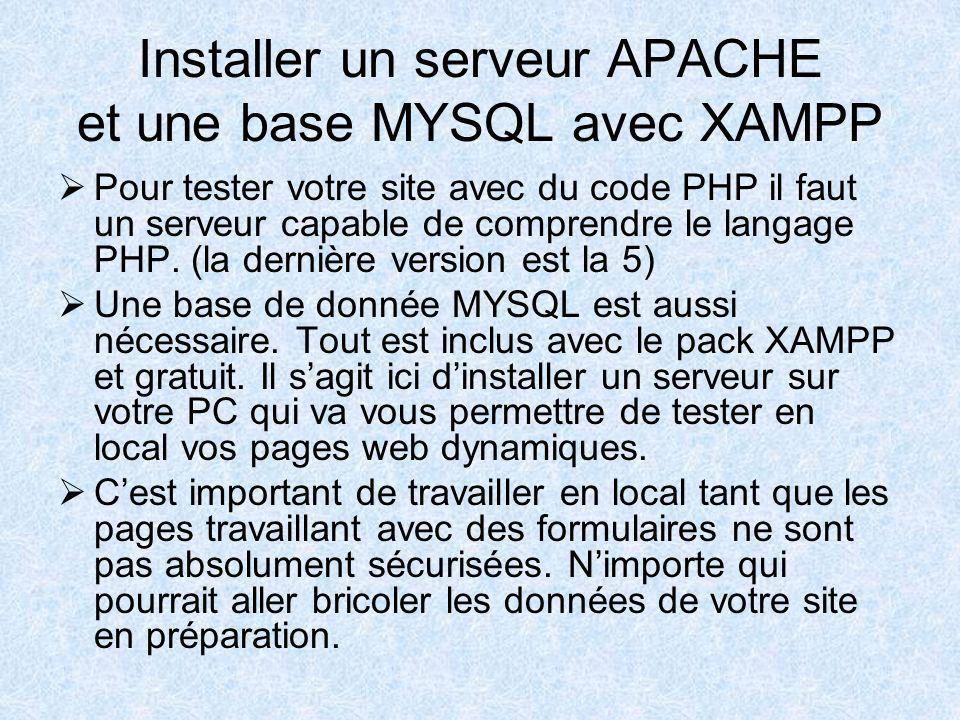 Installer un serveur APACHE et une base MYSQL avec XAMPP