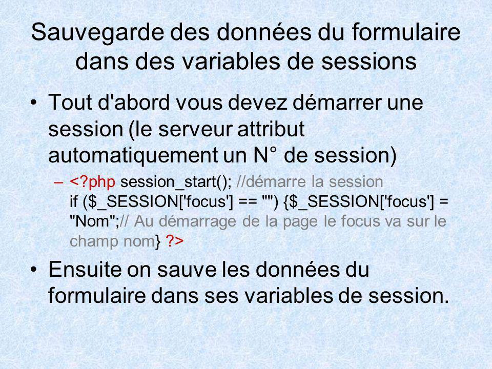 Sauvegarde des données du formulaire dans des variables de sessions