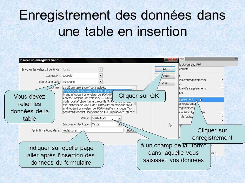 Enregistrement des données dans une table en insertion