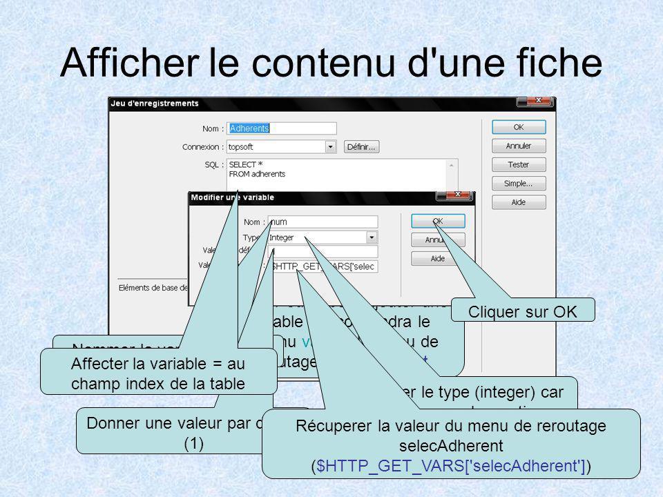 Afficher le contenu d une fiche