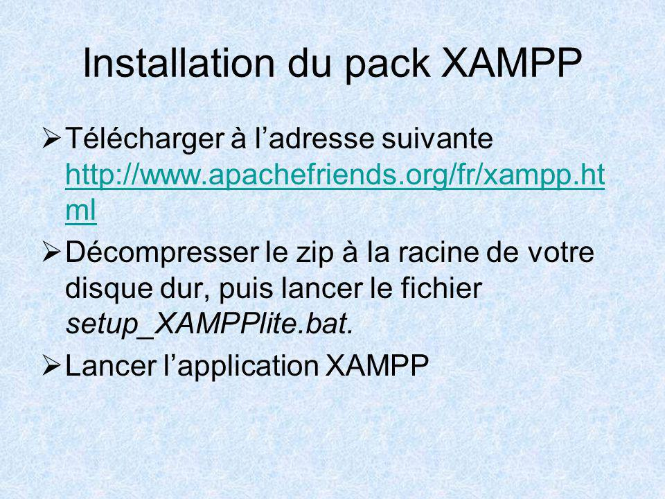 Installation du pack XAMPP