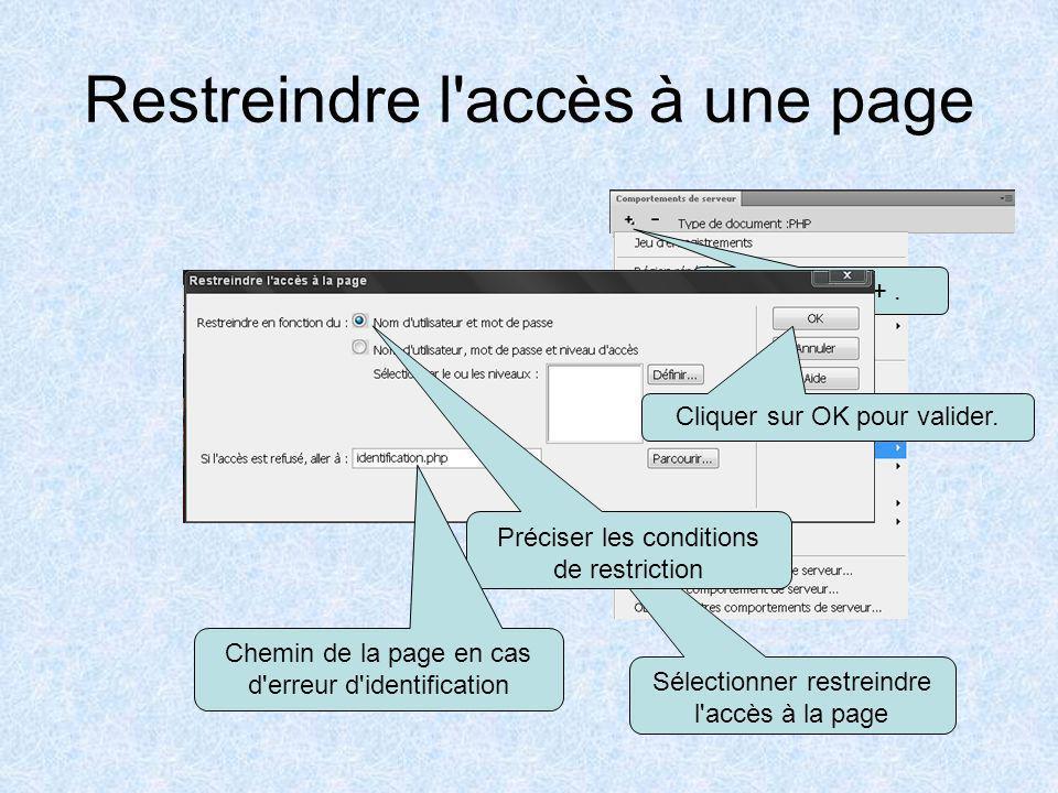 Restreindre l accès à une page