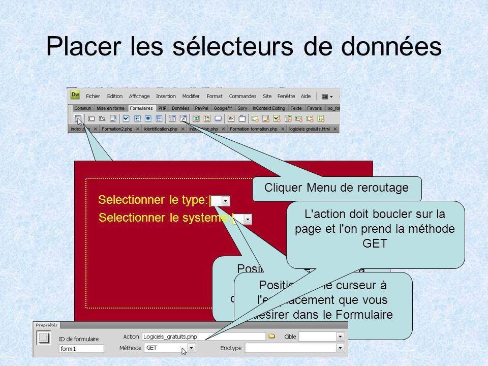 Placer les sélecteurs de données