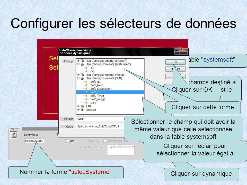 Configurer les sélecteurs de données
