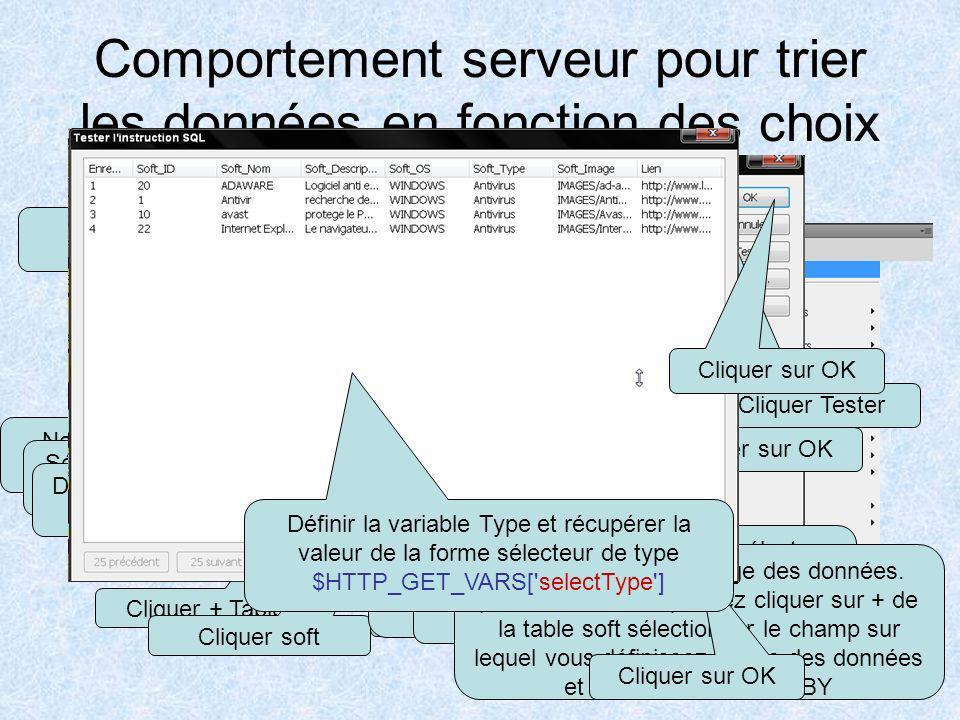 Comportement serveur pour trier les données en fonction des choix