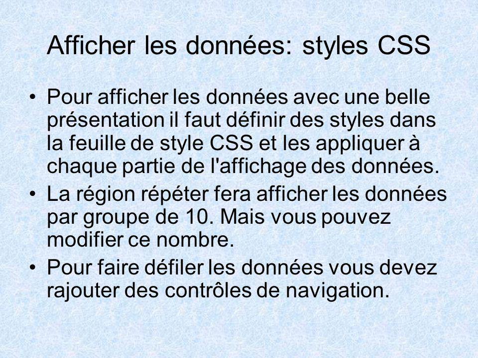 Afficher les données: styles CSS