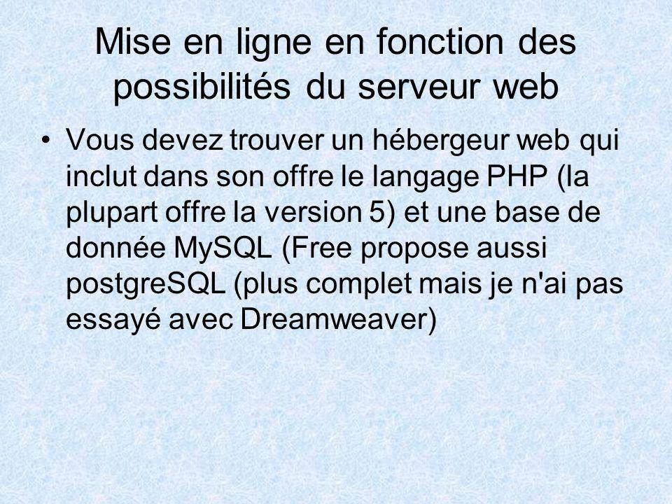 Mise en ligne en fonction des possibilités du serveur web