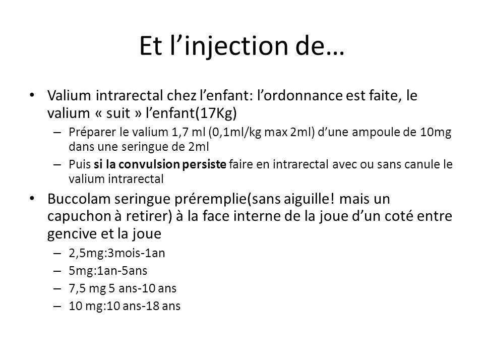 Et l'injection de… Valium intrarectal chez l'enfant: l'ordonnance est faite, le valium « suit » l'enfant(17Kg)