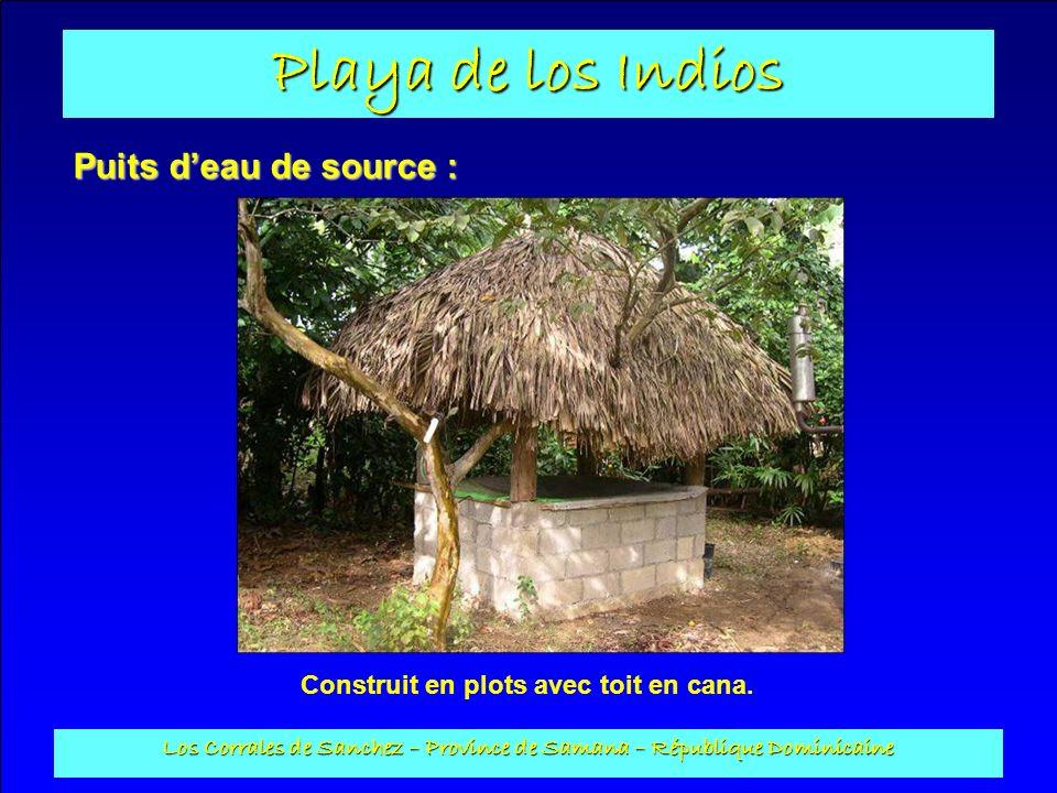 Puits d'eau de source : Construit en plots avec toit en cana.