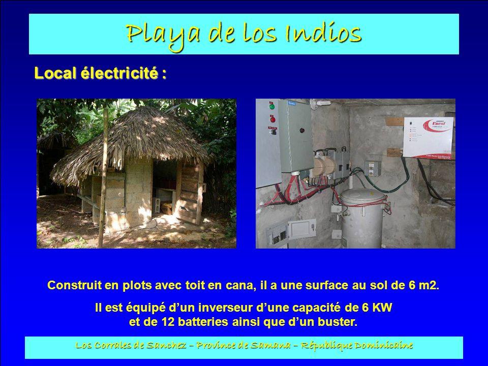 Local électricité : Construit en plots avec toit en cana, il a une surface au sol de 6 m2.