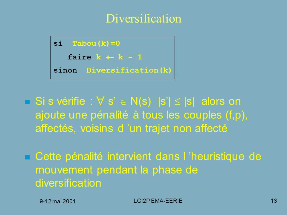 FRANCORO 9-12 mai 2001 Diversification. si Tabou(k)=0. faire k  k - 1. sinon Diversification(k)