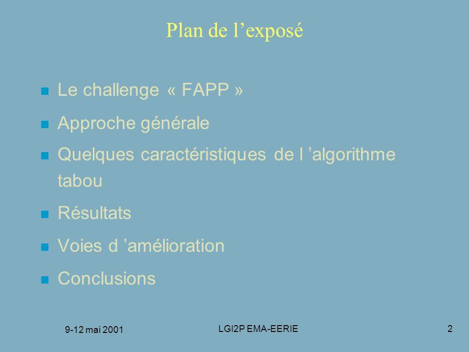 Plan de l'exposé Le challenge « FAPP » Approche générale