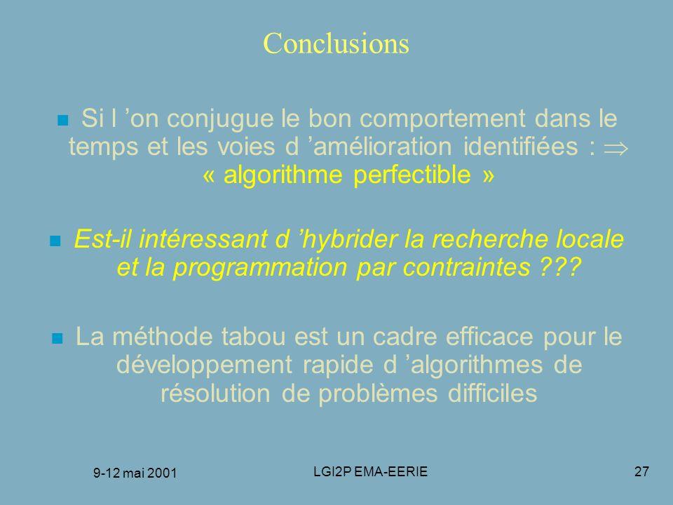 FRANCORO 9-12 mai 2001 Conclusions.