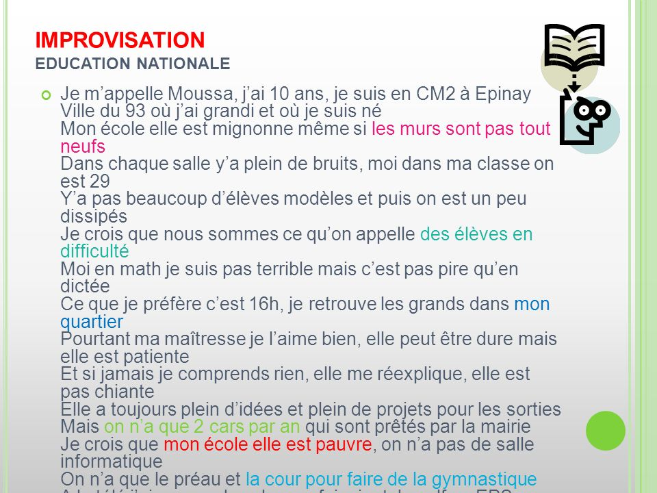 IMPROVISATION EDUCATION NATIONALE
