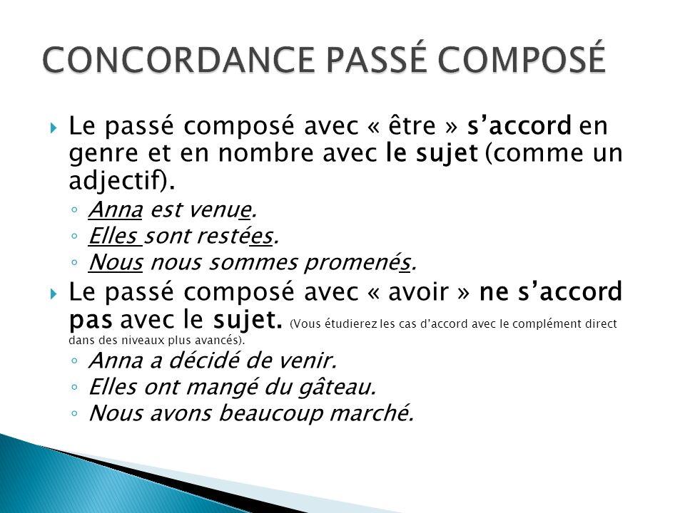 CONCORDANCE PASSÉ COMPOSÉ