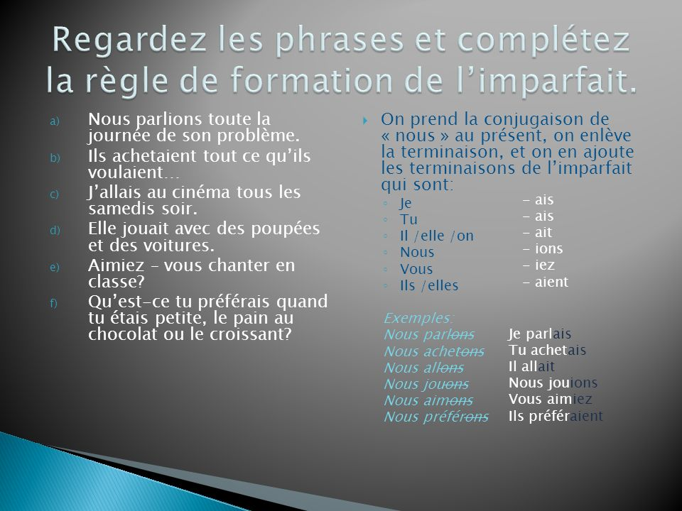 Regardez les phrases et complétez la règle de formation de l'imparfait.