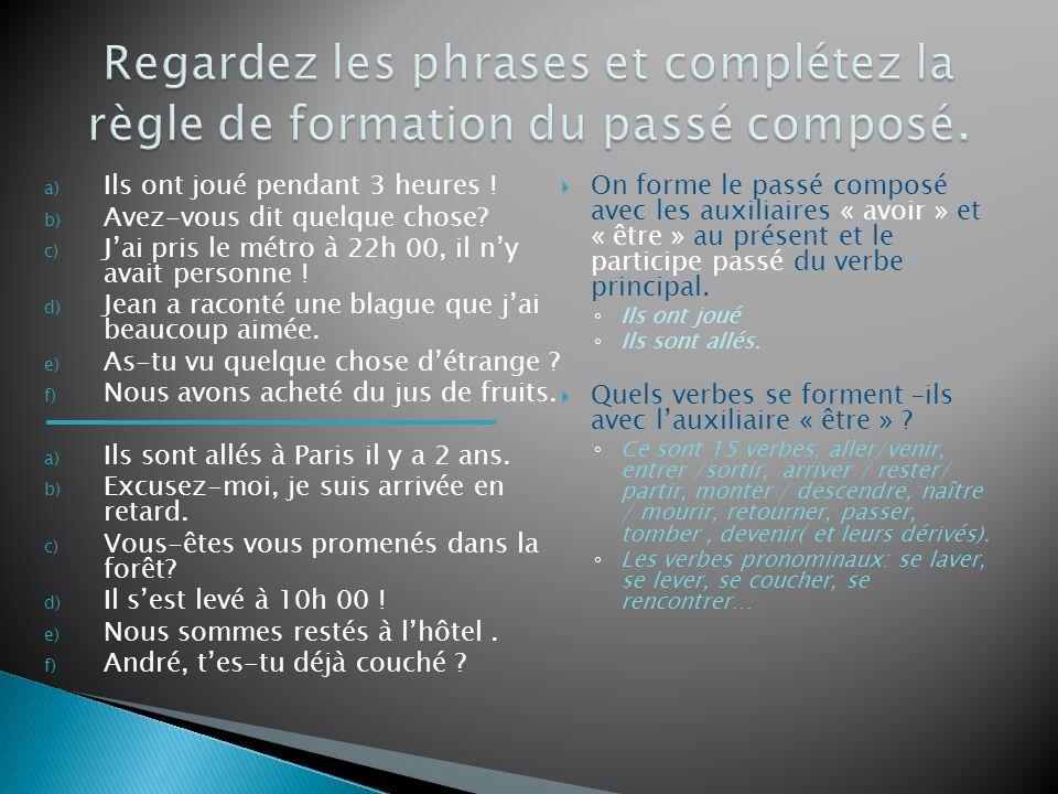 Regardez les phrases et complétez la règle de formation du passé composé.