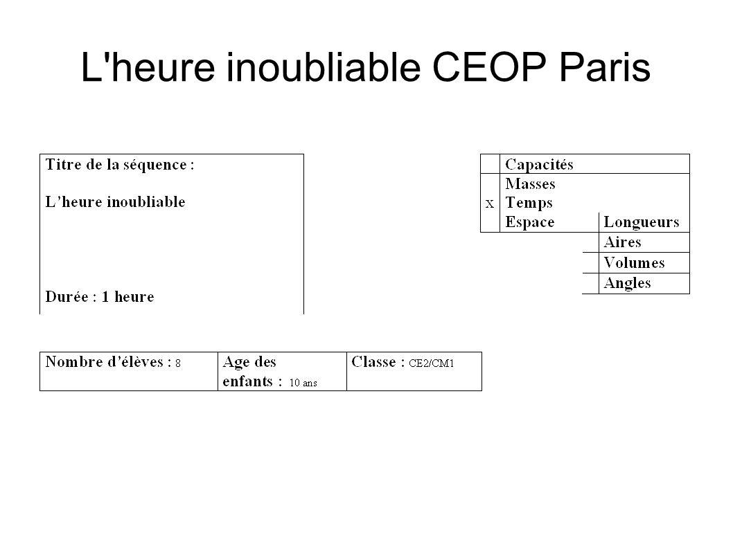 L heure inoubliable CEOP Paris