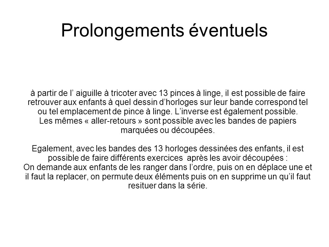 Prolongements éventuels