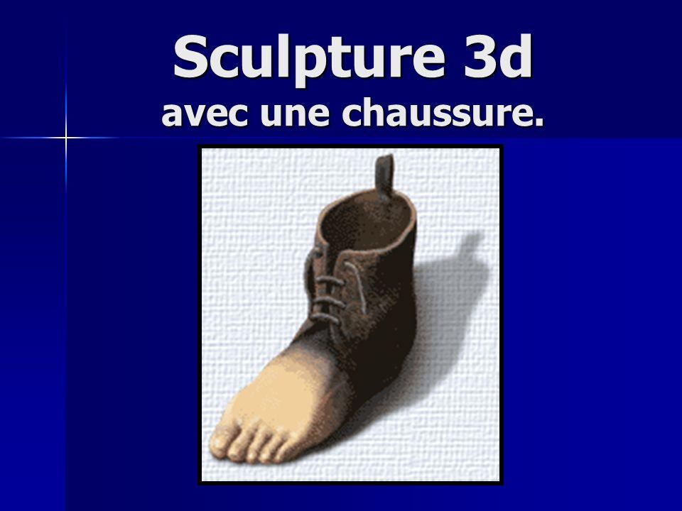 Sculpture 3d avec une chaussure.
