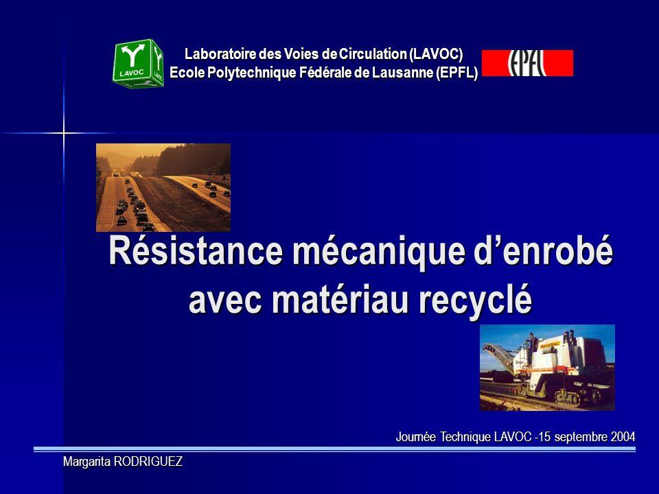 Résistance mécanique d'enrobé avec matériau recyclé
