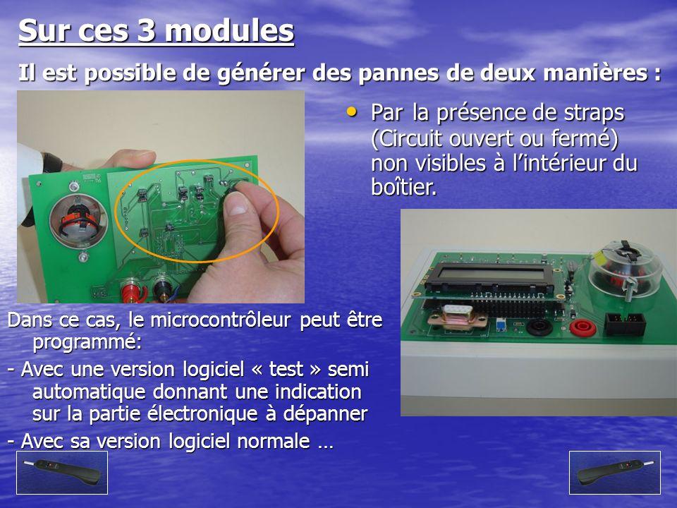 Sur ces 3 modules Il est possible de générer des pannes de deux manières :
