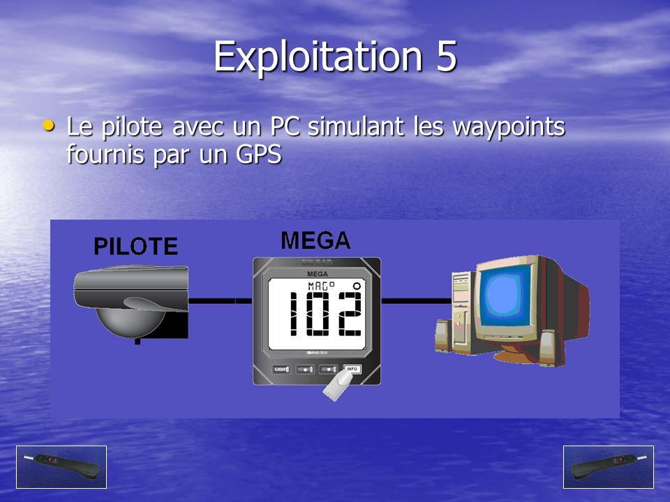 Exploitation 5 Le pilote avec un PC simulant les waypoints fournis par un GPS