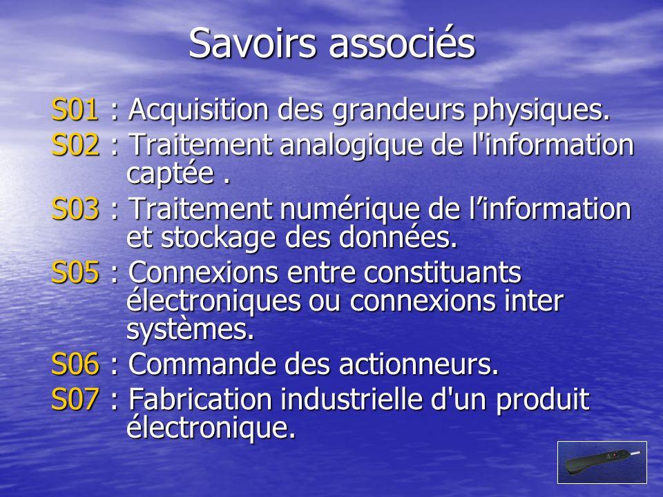 Savoirs associés S01 : Acquisition des grandeurs physiques.